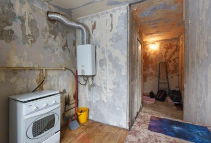 Repair in the apartment with a gas stove