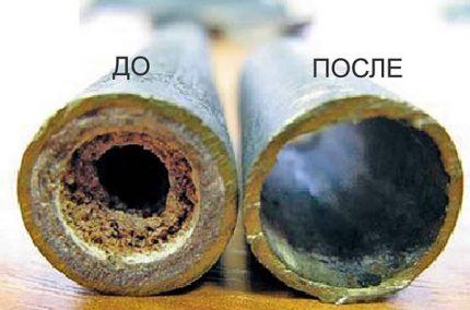 Tubes d'échangeur de chaleur avant et après nettoyage