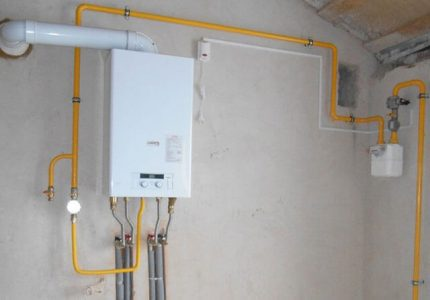 Exemple de connexion d'une chaudière à gaz aux communications