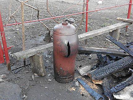 Torn gas bottle