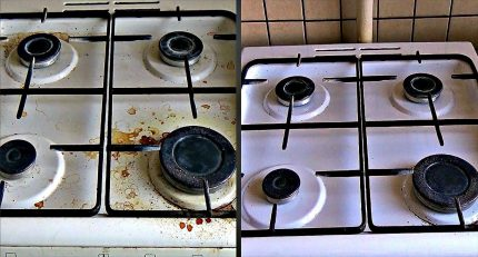 Enameled surface of a gas stove