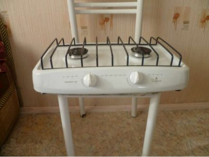 Gas stove without oven on a chair
