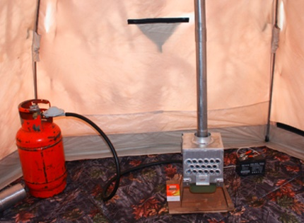 Operation of a makeshift convector in a tent