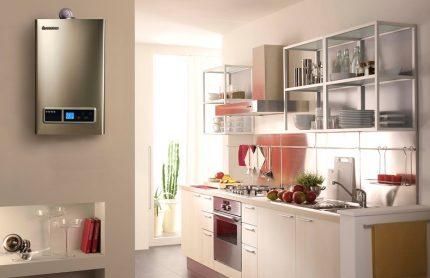 Intérieur de cuisine de style moderne avec colonne