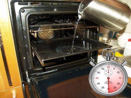 Cuire à la vapeur la grille dans le four