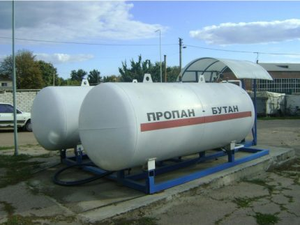 Large capacity of propane and butane at a gas station