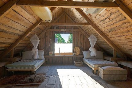 Summer attic in the cottage