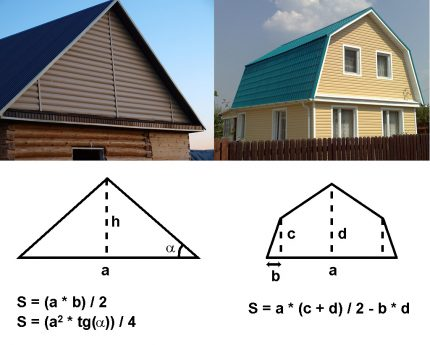 Types of roofs for heat loss calculations