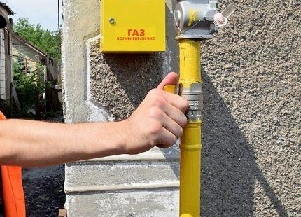 Gasavstängningsventiler på gatan