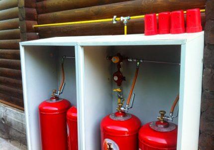 Bouteilles de gaz dans une boîte métallique