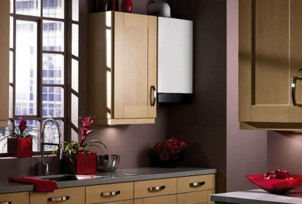 Gas water heater in the interior