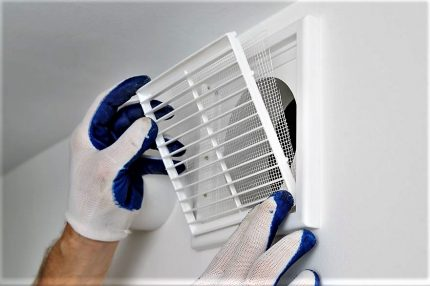 Installation of the ventilation grill