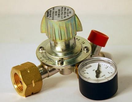 Gas pressure regulator with adjusting screw
