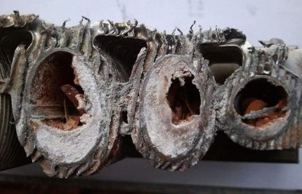 Encrassement de l'échangeur de chaleur de la chaudière