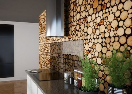 Wooden screen for the wall