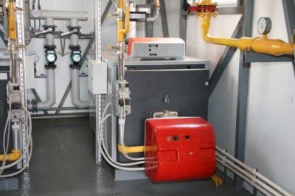 Industrial boiler room for a powerful boiler