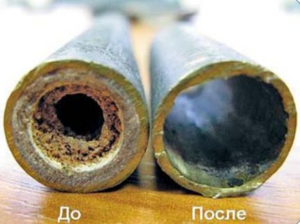 Pipes before and after dry cleaning