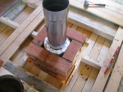 Brick chimney masonry