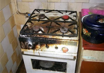 Gas stove after the explosion