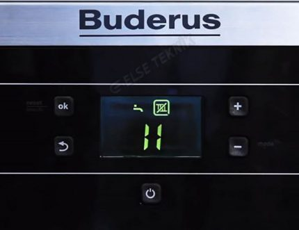 Affichage numérique de la chaudière Buderus