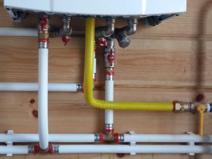 Position of shutoff valves for boiler operation
