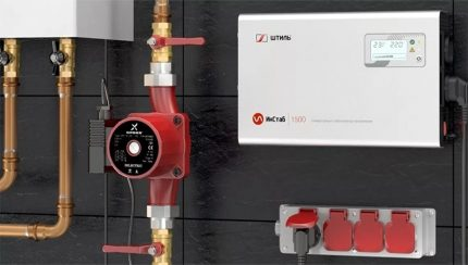 Voltage stabilizer at the input of the mains to the gas boiler