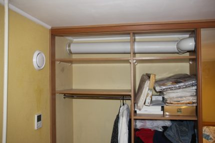 Installed ventilation in the dressing room