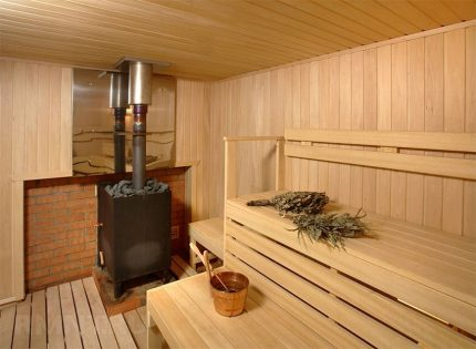 The location of the furnace in the steam room