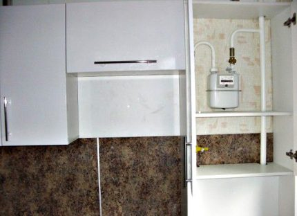 Gas meter in the cabinet