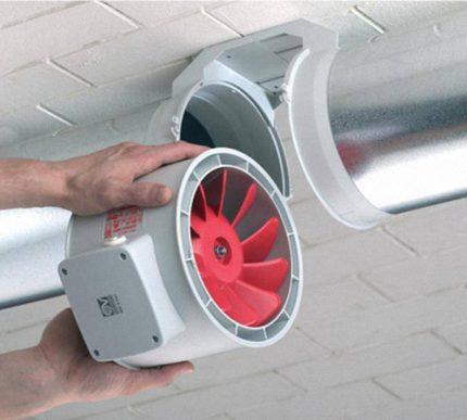 Installation du ventilateur de canal