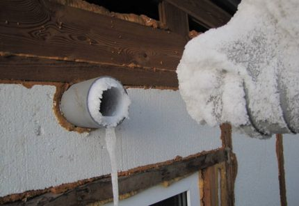Ice on the vent pipe