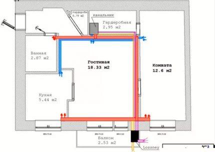Mājas plāns gaisa apmaiņas aprēķiniem