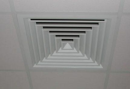 Grille de ventilation au plafond