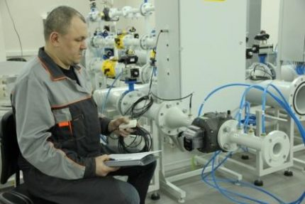 Checking the gas meter at the factory