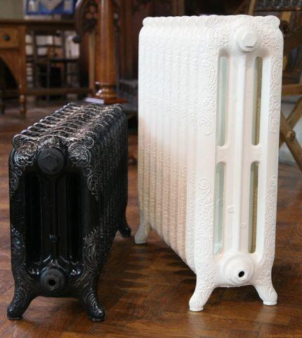 Different sizes of cast iron radiators