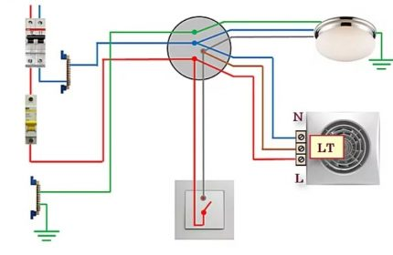 Scheme of connecting a fan with a timer to a single-key switch