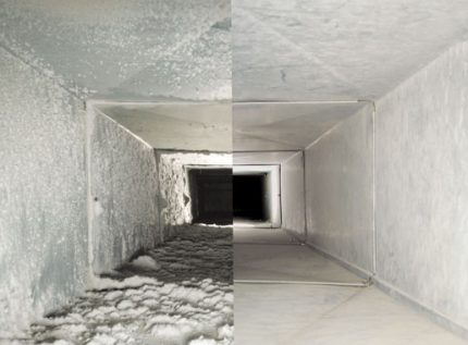 Comparison of duct before and after cleaning