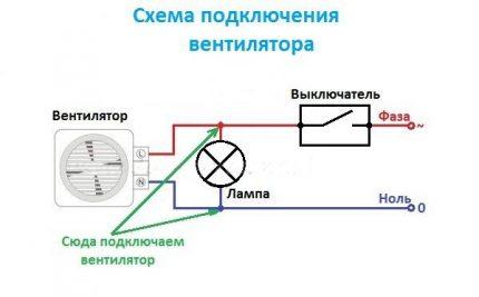 Connection diagram of a fan through a light bulb