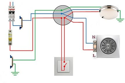 Wiring diagram for fan and light bulb to single-key switch
