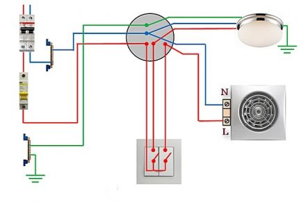 Connection diagram of a 2-key switch to a fan