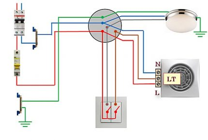Scheme of connecting a fan with a timer to a 2-key switch