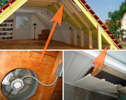 Options de ventilation pour le grenier équipé à la maison