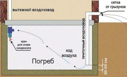 Schéma de ventilation du sous-sol