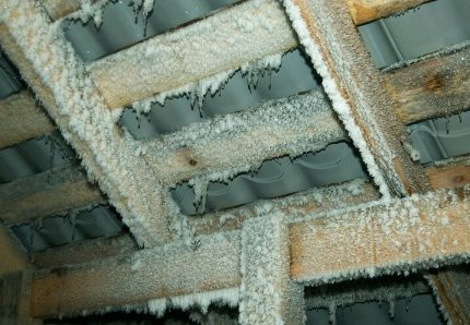 Hoarfrost on the roof and rafter system