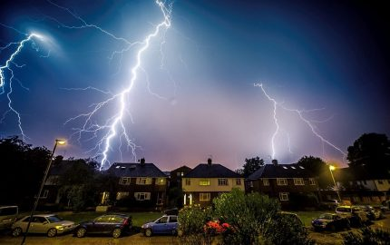 Lightning hits a private house