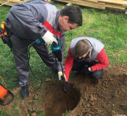 Grounding installation in soil