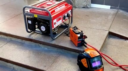 Connection of the welding machine to the generator