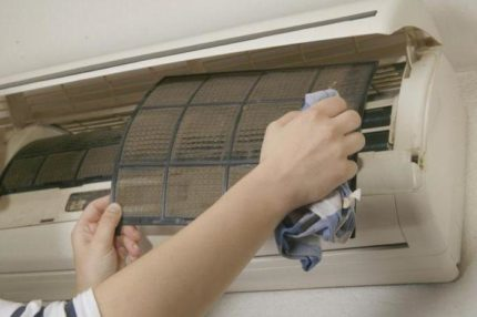 Air conditioner filter cleaning