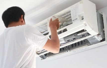 Checking the air conditioner for damage