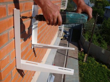 Installation of brackets for air conditioning